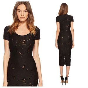 Versace Short Sleeve Sheer Designed Midi Dress